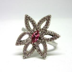 Silver 925 flower design pink stone ring sr92