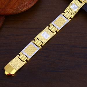 Mens 916 gold cz bracelet-mpb146