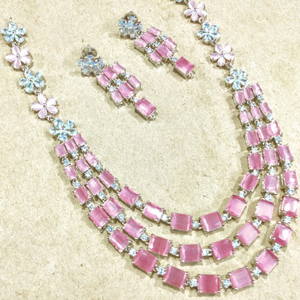 White and pink cz necklace set jmk0002