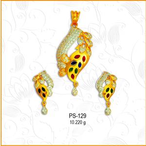 916 gold colorful cz pendant set ps-129