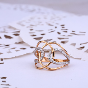 Ladies 18k rose gold designer cz ring-rlr322