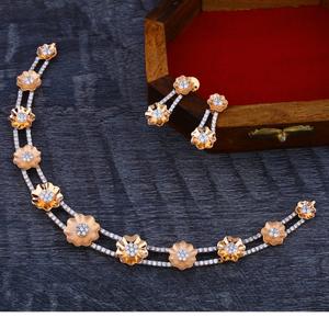 18ct cz  fancy diamond  rose gold necklace se