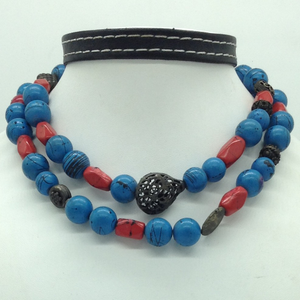 Natural turquoise and coralsnecklace jss015
