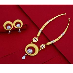 916  gold cz designer ladies necklace set ln3