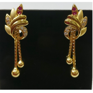 22kt gold cz casting fancy earrings with chai