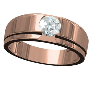 18kt cz rose gold soliter diamond gents ring