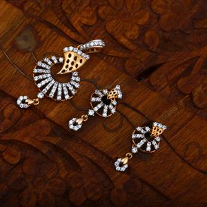916 gold cz stunning design pendant set