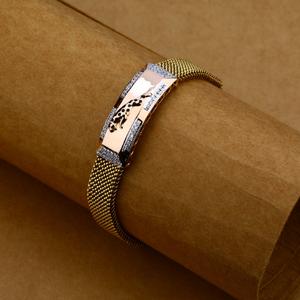 Mens rose gold leather bracelet-mlb70