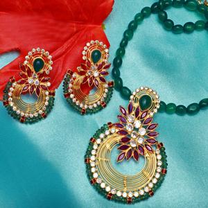 916 gold attractive colour stone necklace set