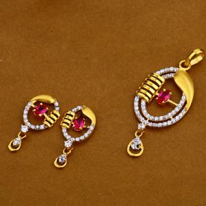916 gold cz fancy pendant set fps32