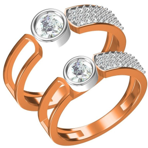 916 cz rose gold couple ring
