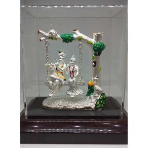 999 silver radhe- krishna idols