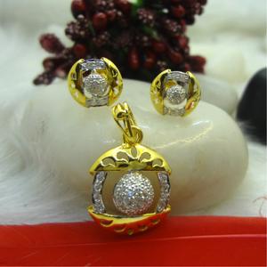 916 gold cz diamond pendant set