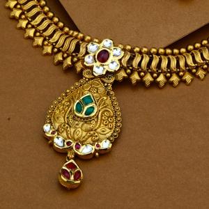916 gold antique royal necklace set for weddi