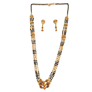 One gram gold forming three line mangalsutra