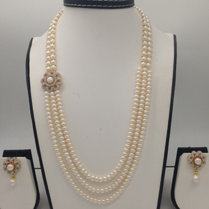 White, red cz and pearls broachset with 2
