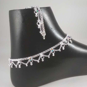 Silver fancy anklets. nj-p0414