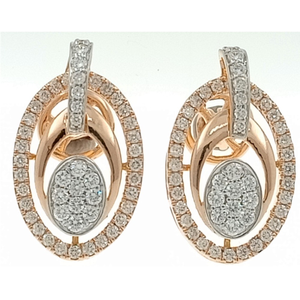 916 gold oval shape diamond earring rd-e06