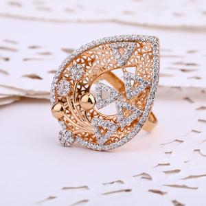 750 rose gold stylish cz ladies ring rlr642