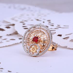 Ladies 18k rose gold designer cocktail ring-r