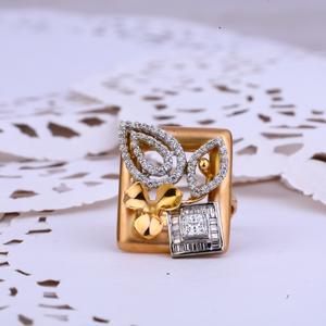 Ladies rose gold designer 18k fancy ring-rlr2