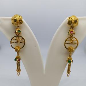 22 kt 916 gold plain hanging earrings