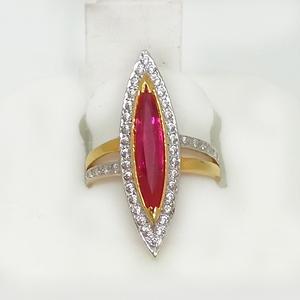 916 gold pink stone ladies ring ml-lr004