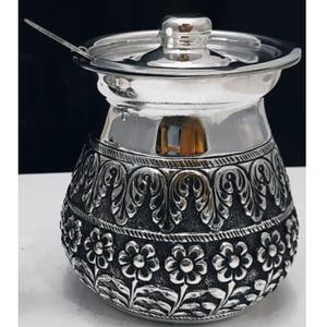 925 pure silver stylish ghee dani with spoon