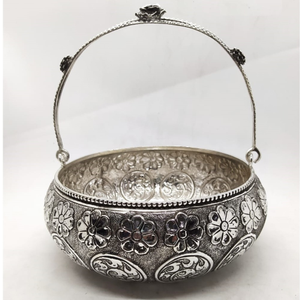 Floral basket in fine antique carving by pura