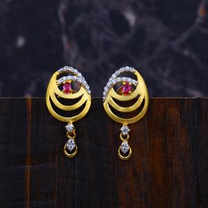 Ladies 22k fancy gold earrings-lfe07