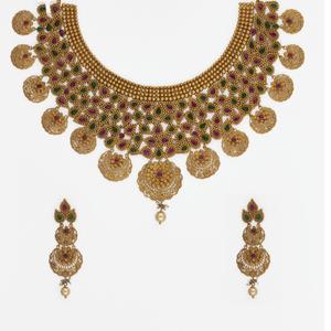916 gold jadtar necklace set sj-4569