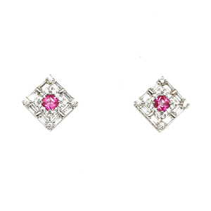 925 sterling silver square shaped pink diamon