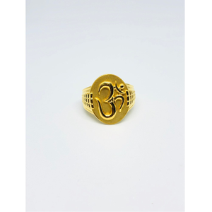 22kt gold om design ring for men kdj-r006