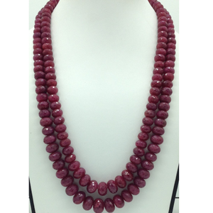 Natural red ruby round faceted2layers nec