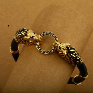 Mens dragon design 18k gold cz leather kada-m