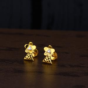 Ladies 916 gold rodium plain earring -lpe139