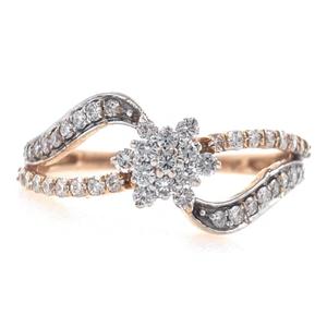 18kt / 750 rose gold floral diamond ladies ri