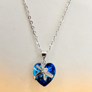 925 silver heart blue crystal color butterfly
