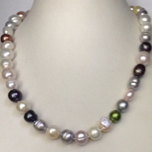 Freshwater multicolour mix pearls knotted mal