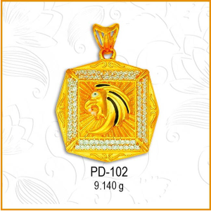 916 gold cz square shape designer pendant pd-
