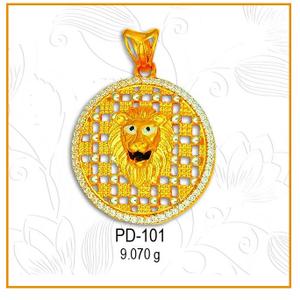 916 cz gold round lion face pendant pd-101