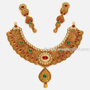 916 fancy gold designer bridal choker necklac