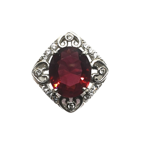 925 sterling silver square shaped red stone r