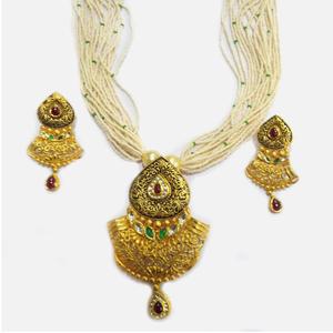 916 gold antique bridal necklace set rhj-4395