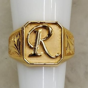 22kt yellow gold alphabet kalkati ring for me