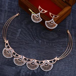 750 hallmark  rose gold  women's necklace set