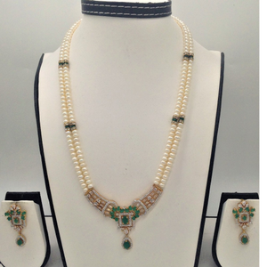 White and green cz pendent set with 2 line