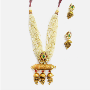 916 gold antique long necklace set rhj-4935