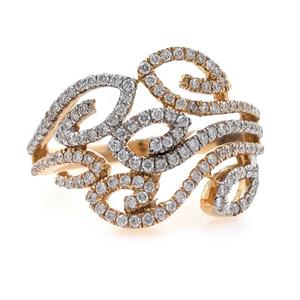 18kt / 750 rose gold leaf diamond ladies ring