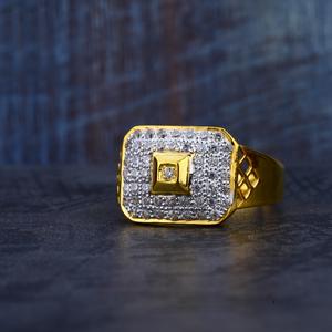 Gold mens cz 916 ring-mr186
